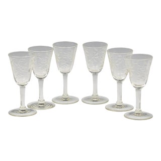 Antique Etched Cordial Glasses With Floral Design- Set of 6 For Sale