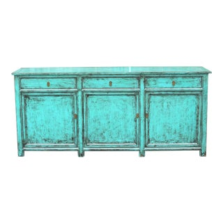 Amazing Asian Teal Sideboard For Sale