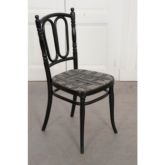 Set of Four Ebony Thonet Bentwood Side Chairs For Sale - Image 12 of 13