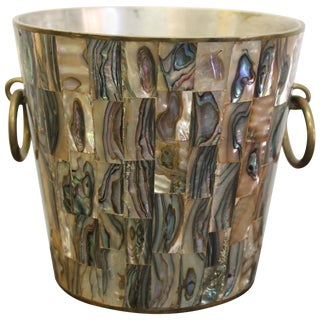Mexican Brass and Abalone Ice Bucket For Sale