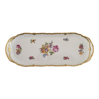 Vintage German Hand Painted Floral Sandwich Plate /Tray