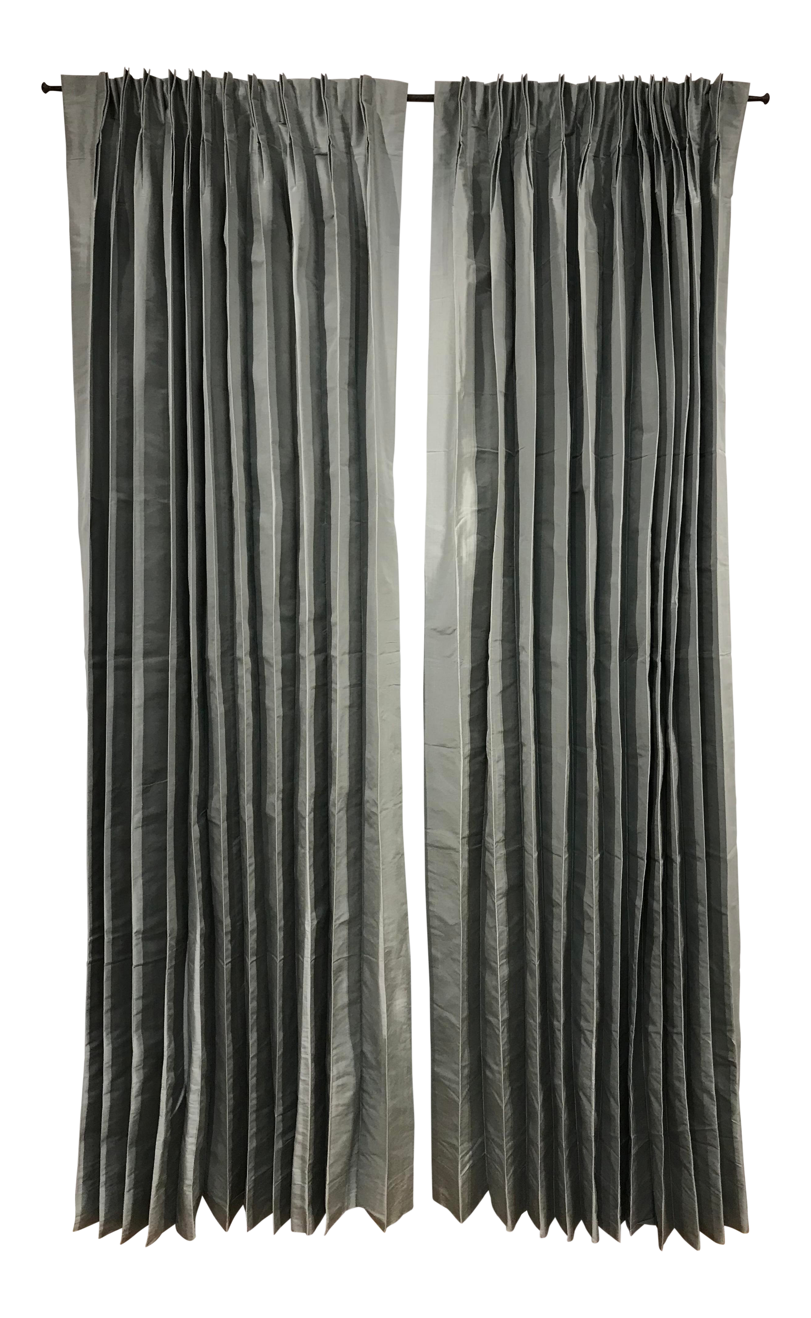 Restoration Hardware Fog Gray Pleated Thai Silk Drapery Curtain Panels   A  Pair