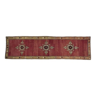 Vintage Red Turkish Runner Rug 4' X 15' For Sale