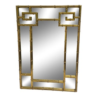 Mastercraft Brass Faux Bamboo Mirror W/Greek Key For Sale