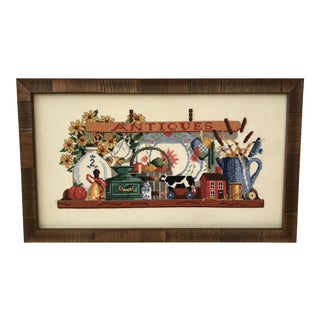 "Vintage Cross Stitch ""Antiques"" Newly Framed Textile Art"