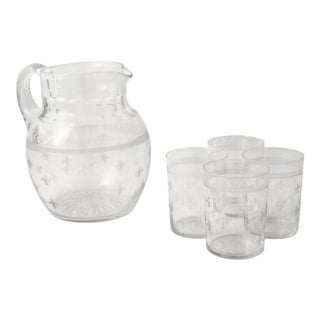 1950s French Fleur De Lis Motif Glass Water Pitcher and Glasses - 5 Pieces