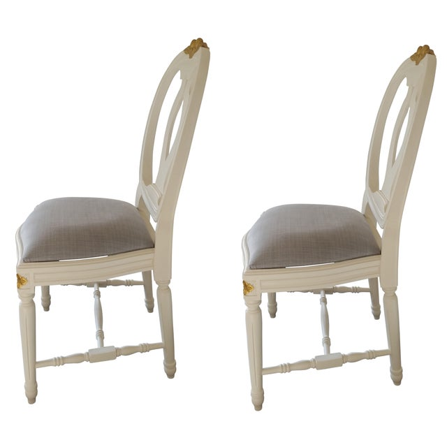 French Carved Rose Gustavian Chairs With Gold - Pair For Sale - Image 3 of 11