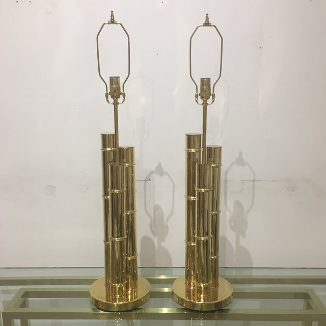 1960s Italian Brass Faux Bamboo Lamps - a Pair For Sale - Image 11 of 11