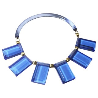 Judith Hendler Transparent Blue Acrylic Lucite Neck Ring Necklace With Charms For Sale