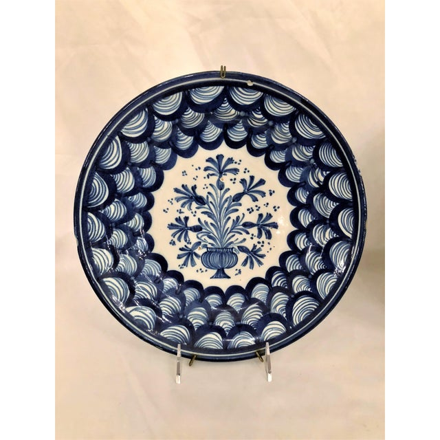 French Pair Antique French Faience Blue and White Chargers, Circa 1890-1910. For Sale - Image 3 of 4