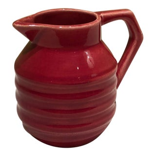 French Art Deco Red Pitcher