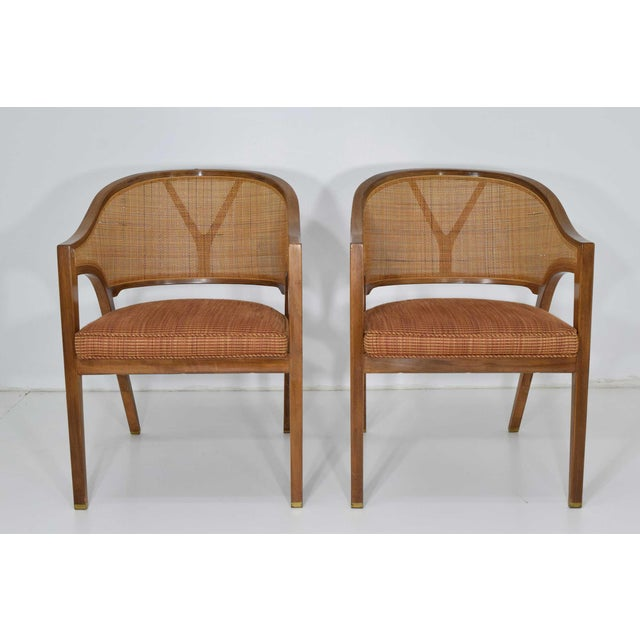 Dunbar Cane Back Lounge Chairs by Edward Wormley - a Pair For Sale - Image 9 of 11