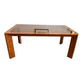 1970s Vintage Burlwood and Glass Dining Table For Sale