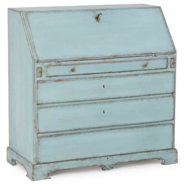 Sweden, c. 1820. A turquoise and white painted Empire writing bureau with drop-leaf writing tablet, interior drawers and...