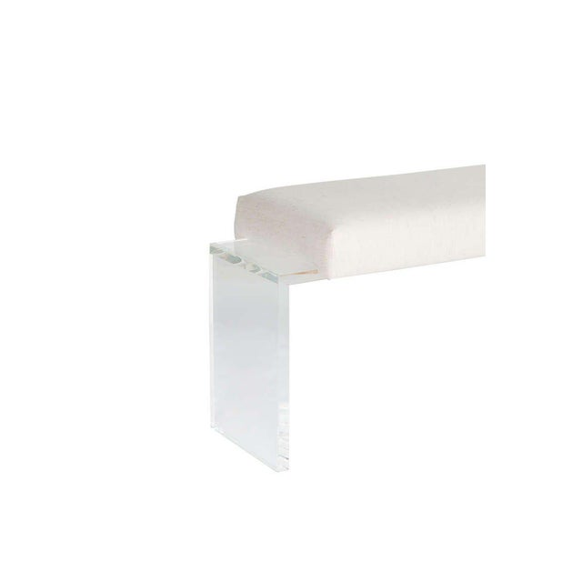 Lucite frame upholstered bench. One inch thick Lucite base supports upholstered top. COM requirements: 2 yards. 5% up-...