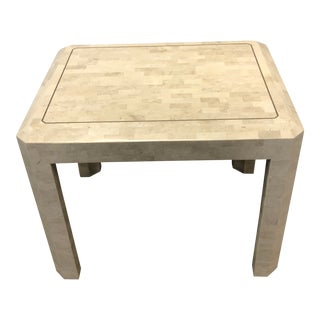 1970s Modern Maitland Smith Brass Tessellated Fossil Stone Side Table For Sale