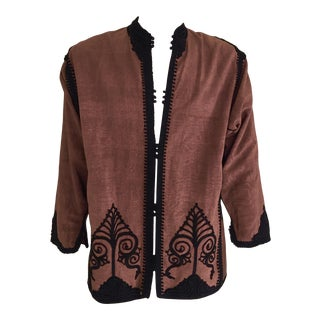 Moroccan Brown and Black Embroidered Short Vest Caftan For Sale