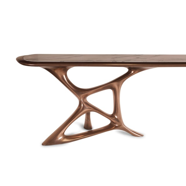 Amorph Custom Anika Console Table, Bronze Finish With White Marble Stone For Sale In Los Angeles - Image 6 of 10