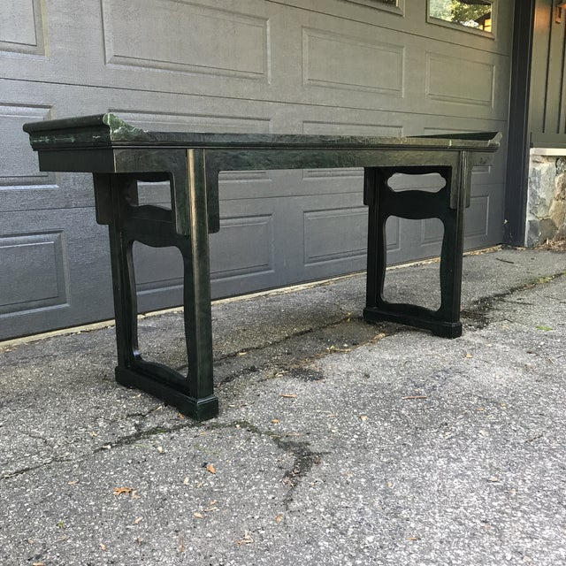 Chinoiserie Green Painted Console by Baker Furniture For Sale - Image 9 of 11