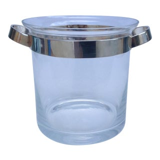 Gorham Silver Plated Handled Modern Crystal Ice Bucket