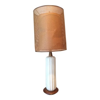 Mid-Century Modern Ceramic and Wood Lamp With Double Shade For Sale