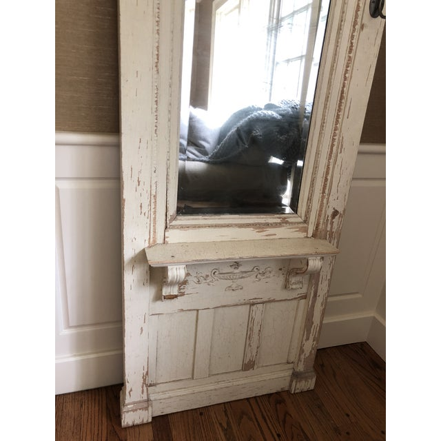 Metal Early 20th Century Antique Wood Floor Mirror For Sale - Image 7 of 8