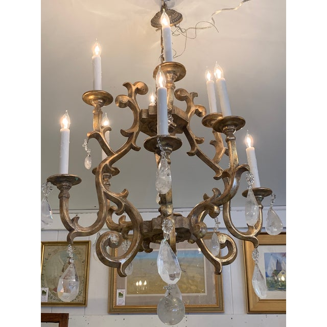 Giltwood Chandelier With Very Large Rock Crystals For Sale - Image 10 of 13