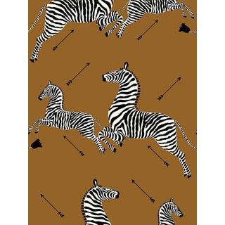 Sample, Scalamandre Zebras, Safari Brown Wallpaper For Sale