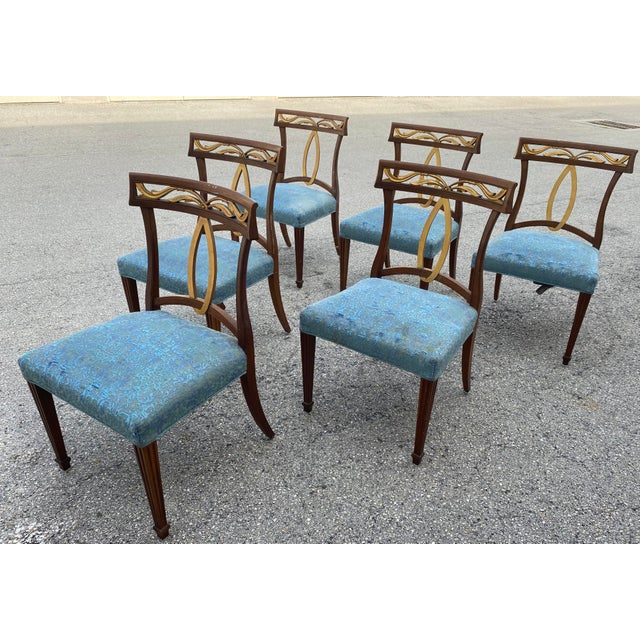 Wood Late 20th Century Baker Furniture Curved Italian Gold Leaf Regency Dining Chairs, Set of Six For Sale - Image 7 of 13