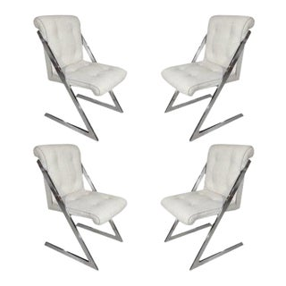 Mid-Century Chairs in Chrome and Linen - Set of 4 For Sale