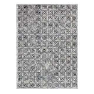 Modern Hand Knotted Wool & Viscose Rug- 8′ × 9′11″ For Sale