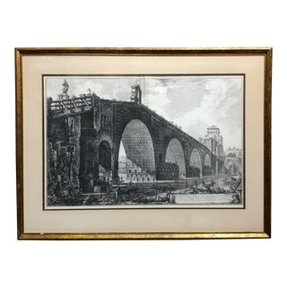 Piranesi -Veduta del Ponte Molle sul Tevere- 18th century Etching