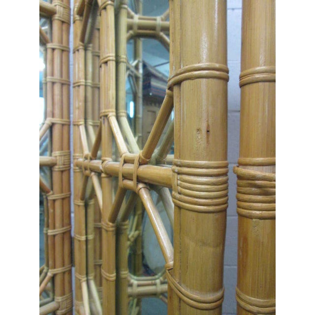 Mid-Century Modern 1960s 3 Panel Rattan & Mirror Floor Screen Room Divider For Sale - Image 3 of 8