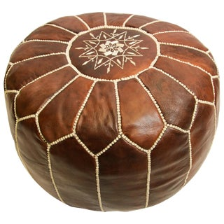 Moroccan Brown Leather Hand Tooled Pouf For Sale