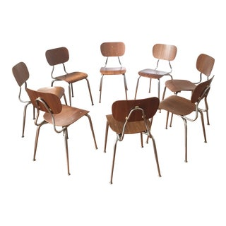 1970s Vintage Bent Wood and Steel Dining Chairs - Set of 8 For Sale