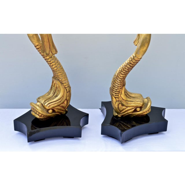Giltwood Dolphine Lamps - a Pair For Sale - Image 4 of 10