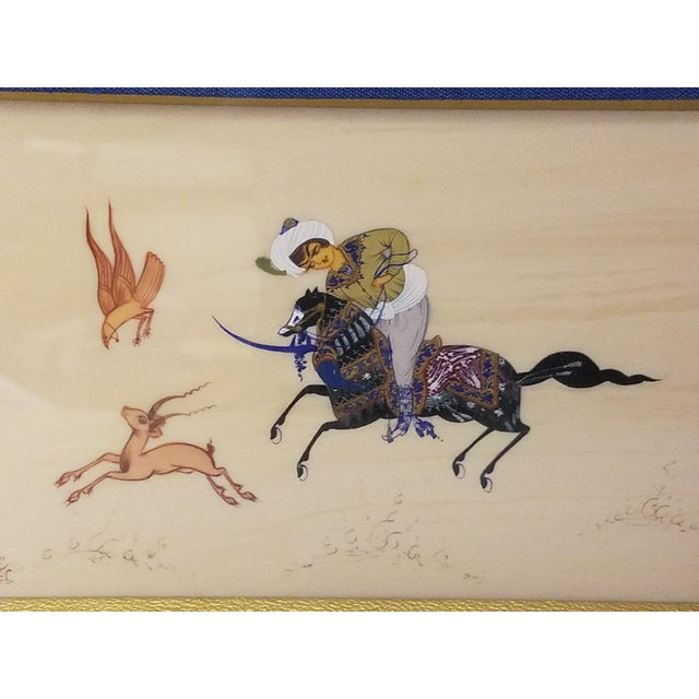 Story Paintings, Lebanese Antique Hunt Painting on Silk For Sale In Baltimore - Image 6 of 8