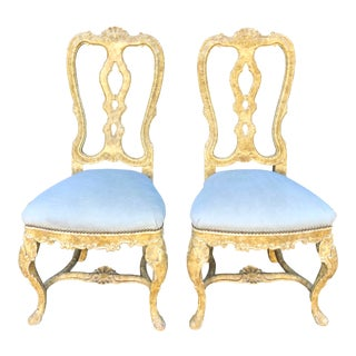 Pair of Antique Venetian Side Chairs For Sale