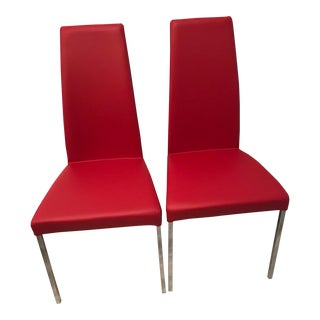 Bontempi Casa Custom-Covered Red Leather Dining Room Chairs - Set of 2