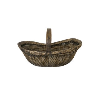 Antique Large Woven Rattan Bamboo Wood Basket With Handle