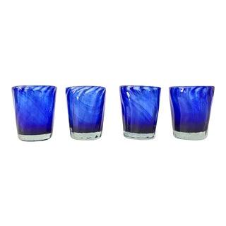 Vintage Handblown Cobalt Glasses - Set of 4