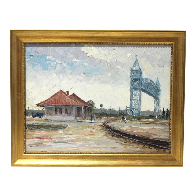 Vintage Oil Painting Buzzards Bay Cape Cod Palette Knife Technique For Sale