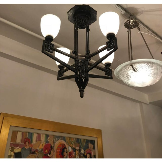 Edgar Brandt Style French Art Deco Chandelier For Sale - Image 10 of 12