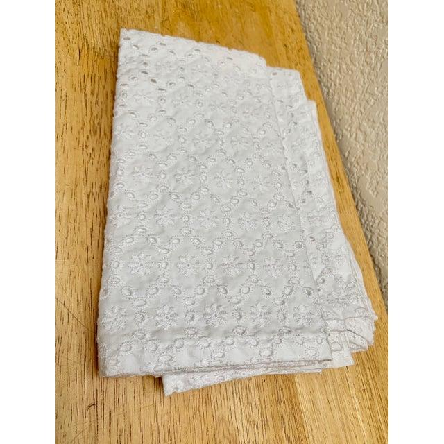 Set of Four White Cotton Eyelet Napkins For Sale - Image 4 of 6