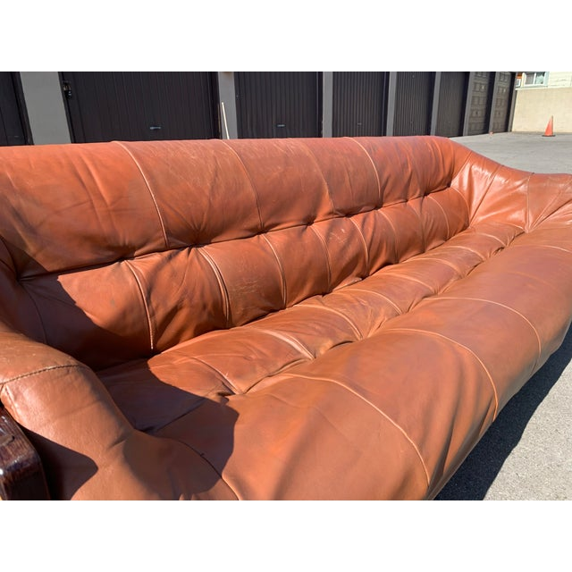 Coffee Mid-Century Percival Lafer Brazilian Leather Sofa For Sale - Image 8 of 13