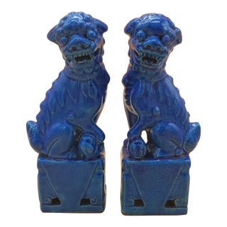 Turquoise Glazed Foo Dogs ShiShi Lions - a Pair For Sale