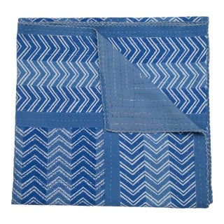 Chevron Hand Stitched Quilt, King - Blue For Sale