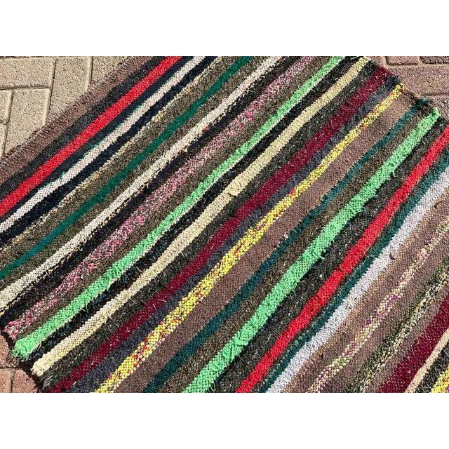Vintage Striped Turkish Kilim Rug For Sale - Image 4 of 10
