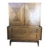 Image of 1960s Mid Century Modern Highboy Dresser With Carved Pulls For Sale
