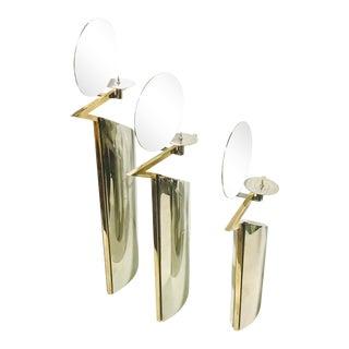 1970s Vintage Chrome & Brass Candlestick Holder Lino Sabattini Style - Set of 3 For Sale